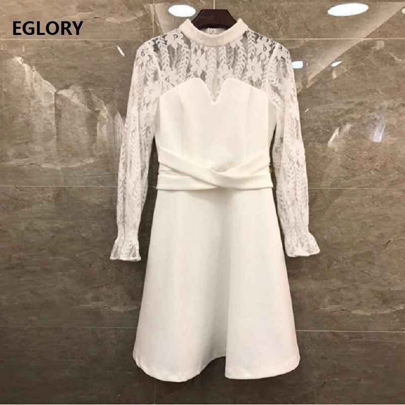 100% robe en coton 2019 automne hiver fête dames Sexy pure dentelle Patchwork croix bande taille à manches longues noir blanc robe en coton