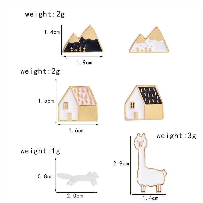 Mini pin de solapa de dibujos animados bonitos casa manzana Pino manzana Alpaca broches con forma de montaña insignias mochila esmalte Pins joyería regalos para amigo