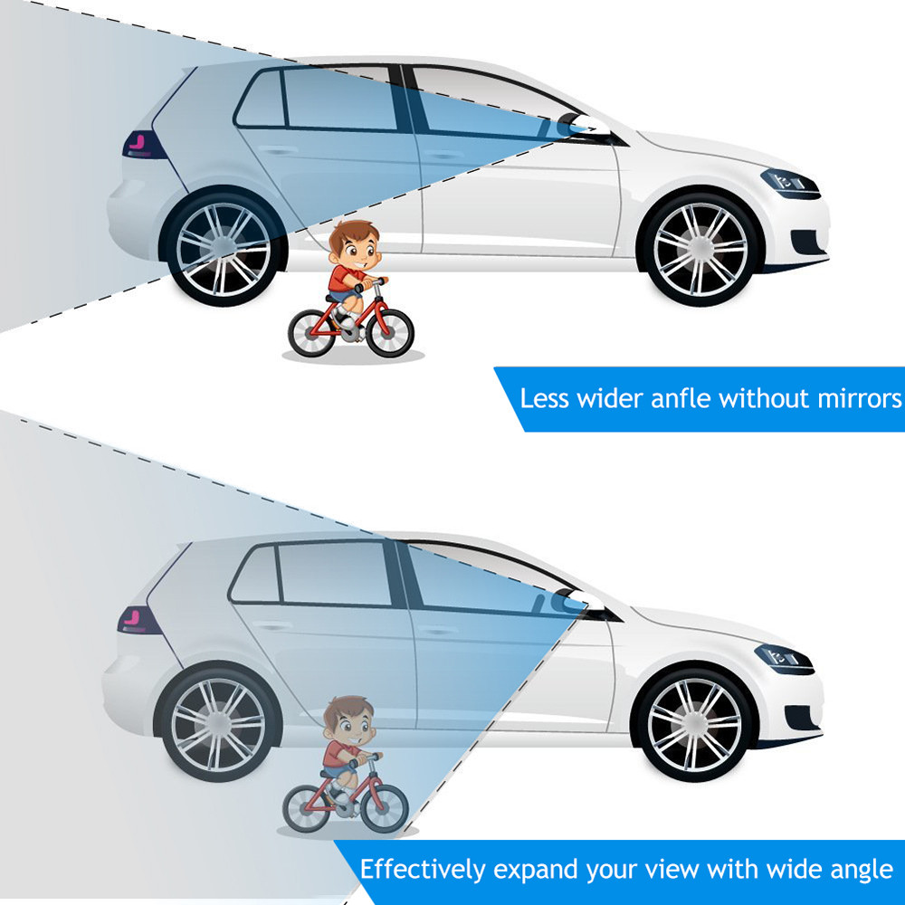 2Pcs Car Curved Wide Angle Rear View Mirror Clear Slim Blind Spot Mirror Reversing Convex Rear View Mirror Parking Mirror in Side Mirror Folding Kit from Automobiles Motorcycles