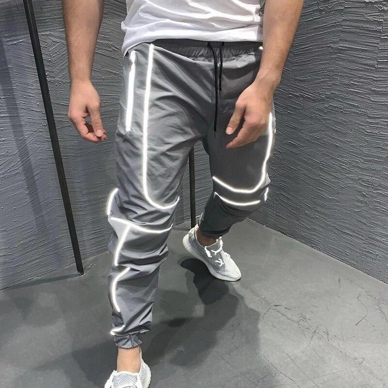Pantalones deportivos reflectantes para hombre, pantalón para correr de noche, entrenamiento, gimnasio, Fitness, pantalones largos ajustados para correr|Pantalones informales| - AliExpress