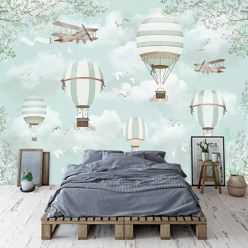 Custom Mural Wallpaper For Kids Room 3D Cartoon Hot Air Balloon Photo Decoration Children Room Bedroom Wall Painting Wall Paper
