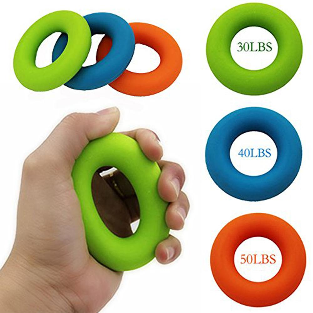 Portable Silicone Hand Gripping Ring Training Strength Hand Grip Muscle Power Exercise Gripper 3Colors