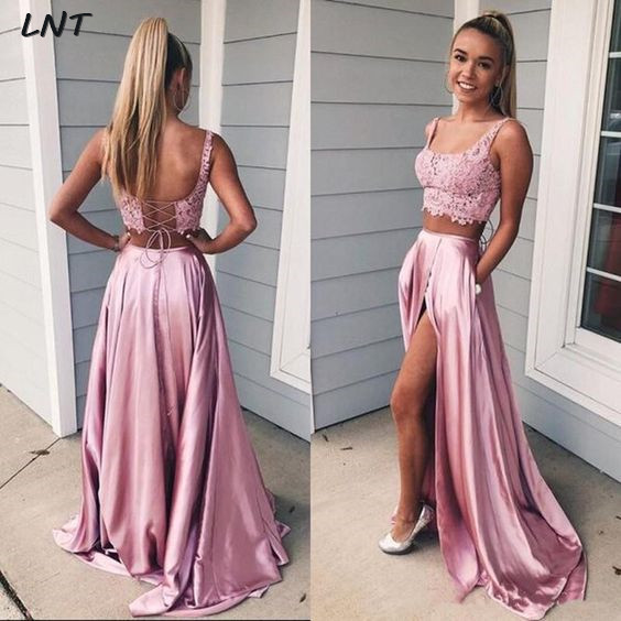 Two Pieces Prom Dress Lace Crop Top Slit Skirt Pageant Dress Sexy Evening Gowns