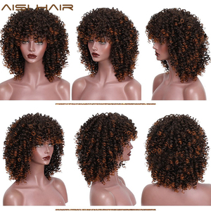 Image 2 - AISI HAIR Afro Kinky Curly Wig Mixed Brown and Ombre Blonde Synthetic Wig Natural Black Hair for Women Heat Resistant Hairs