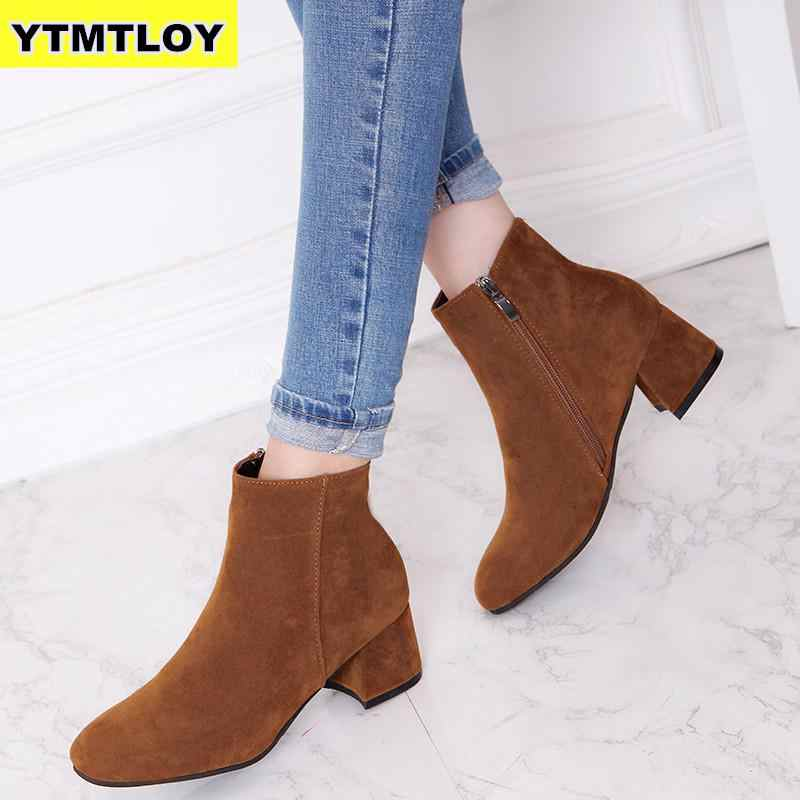 HOT Autumn Winter Boots women Camel Black Ankle Boots For Women Thick Heel Slip On Ladies Shoes Boots Bota Feminina 35-42