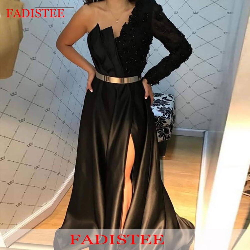 One Shoulder Black Evening Dresses Prom Party Gown Robe De Soirée De Mariage Longue Formal Long платье Lace Women's dress
