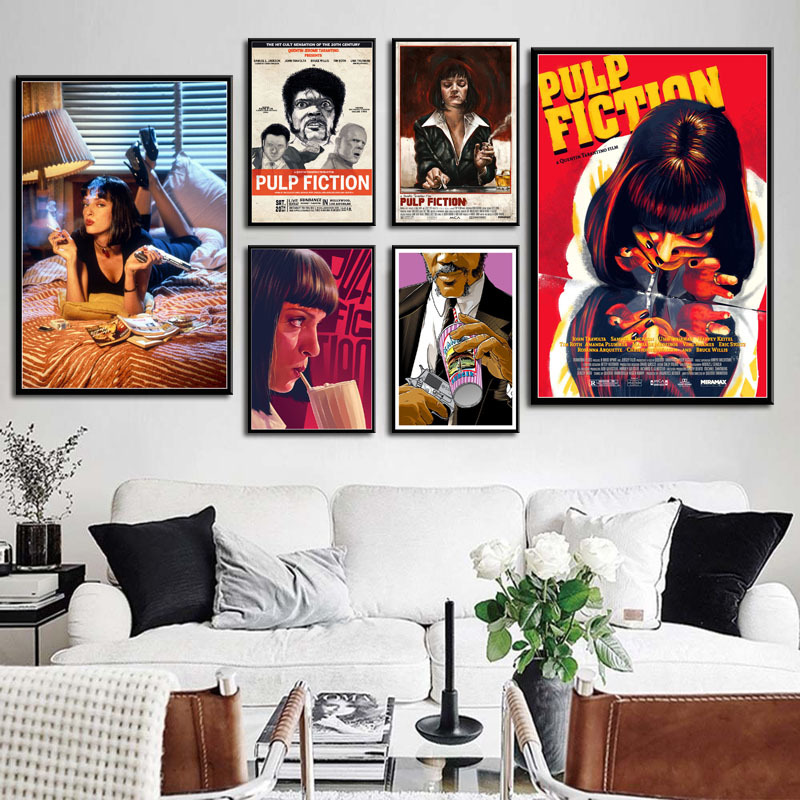 pulp-fiction-classic-movie-quentin-font-b-tarantino-b-font-vintage-art-painting-canvas-art-vintage-classic-poster-wall-home-decor