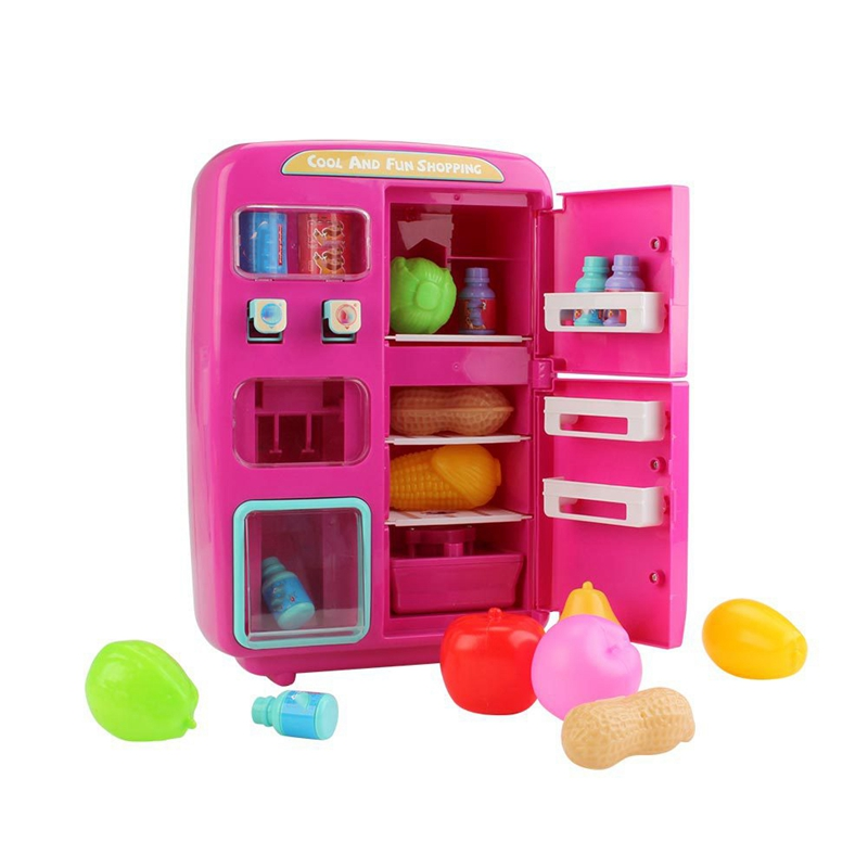 Simulation Refrigerator Set Children Pretend Play House Cooking Tools Tableware Set Fruit Toy Girl Doll House Play Toy