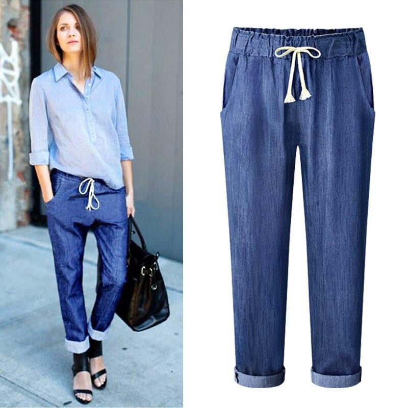 Summer Lace up Elastic Waist Plus Size Harem Pants Women Ankle length Jeans Casual Loose Big Size Capri Pants 5xl 6xl