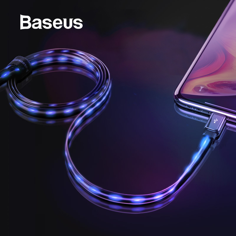 Baseus Flat Glowing 2.4A USB Cable for iPhone Xs Max 8 Plus 1M Fast Charging Sync Data Line LED USB Cable for iPhone SE 7 Cabo-in Mobile Phone Cables from Cellphones & Telecommunications on AliExpress