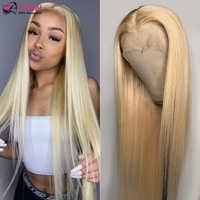 Peluca Frontal de encaje rubio miel para mujer, peluca de malla con división en T transparente, pelucas de cabello humano brasileño liso prearrancado de 32 pulgadas, 613