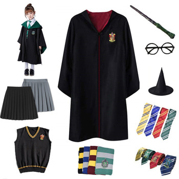 Potter Cloak Robe Adult Kids Party Cosplay Costume Halloween Wizard With Tie Scarf Potter Cosplay Clothes Cape Gift Accessories harriom coin bank 18 pcs coin with bag cosplay potter toy halloween magic world party jouet gift