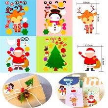 4 pçs crianças engraçado diy adesivos de natal quebra-cabeça jogos fazer um rosto papai noel elk boneco de neve reconhecimento do bebê educação brinquedo