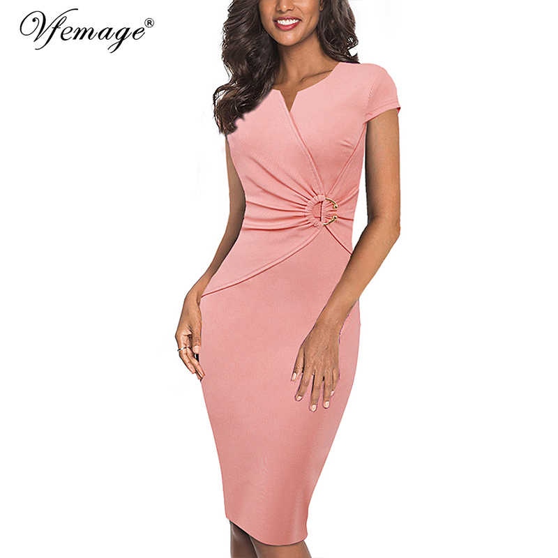 Vfemage Vrouwen Elegante Notch V-hals Ruches Verfraaid Taille Werk Office Business Cocktail Bodycon Pencil Schede Jurk 007