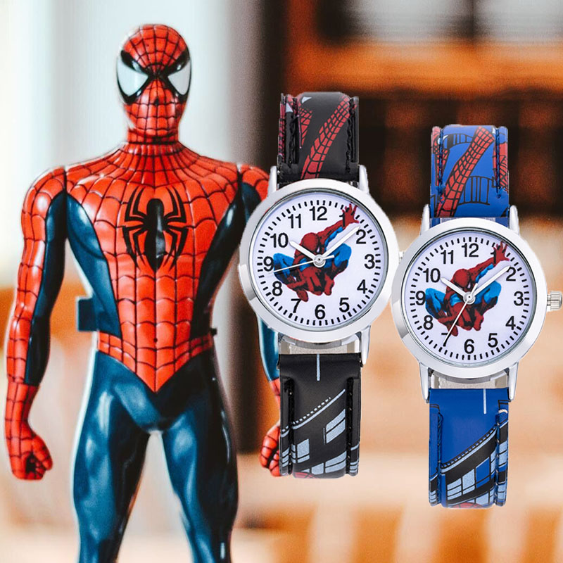 2020 New Stylish Kids Watches Boy Spiderman Cartoon Waterproof Children Watch Spiderman Leather Strap Quartz Clock Montre Enfant