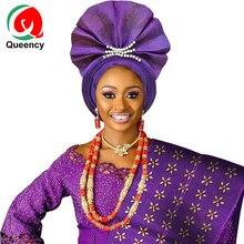 AS051 быстрая, особый стиль, уже сделанный Gele, нигерийские бусы, головные уборы для женщин, вечерние, свадебные