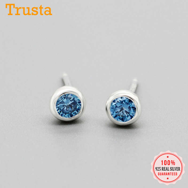 Trustdavis 100% 925 스털링 실버 패션 여성의 작은 블루 핑크 지르콘 스터드 귀걸이 여자 아이 레이디 선물 DS742