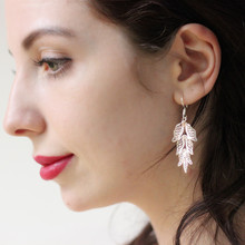 999 Sterling Silver Leaf Drop Earrings For Women Chinese Earing Handmade Ethnic Jewelry Girls Luxury Gift China Air Express