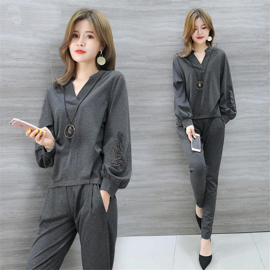 2 Piece Set plus Large Size Women tracksuit matching outfits Tops Pants Autumn Winter Casual Office Suits Elegant Work Clothing