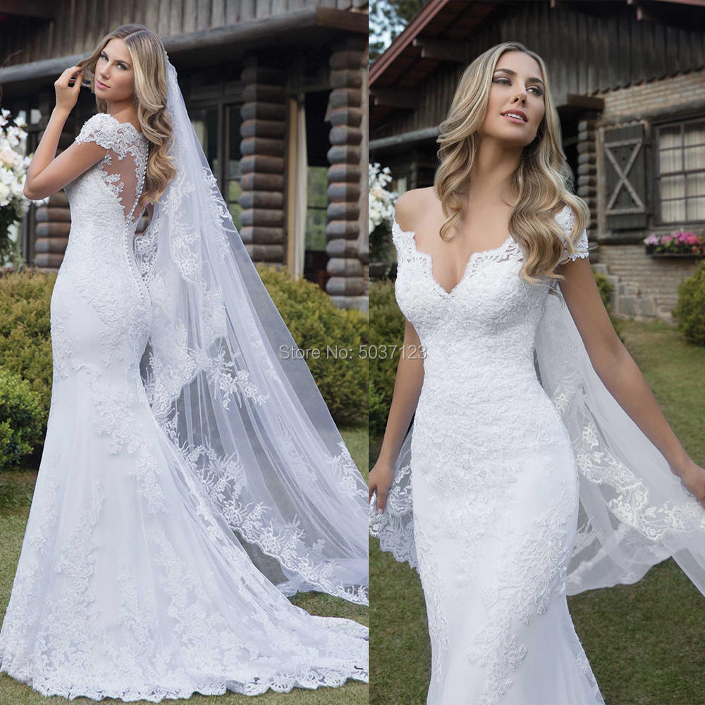 Mermaid Wedding Dresses V Neck Off The Shoulder Short Sleeves Lace Appliques Illusion Bridal Gown Vestidos De Noiva Court Train