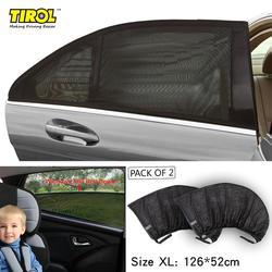 TIROL Rear Window 2PC Mesh UV Protection Car Side Door Sun Shades Set Free Shipping T11724a Outdoor Travel Baby Size XL 126X52cm
