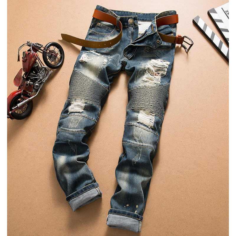 Jeans Men's Nostalgic Jeans Hole Fashion Jeans Motorcycle Straight Pants Denim Pants Tide Personality Trousers