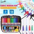 7/13 colores tela textil marcador a prueba de agua Pen Set para DIY camiseta cerámica trazador de líneas de pintura suministros de papelería escolar