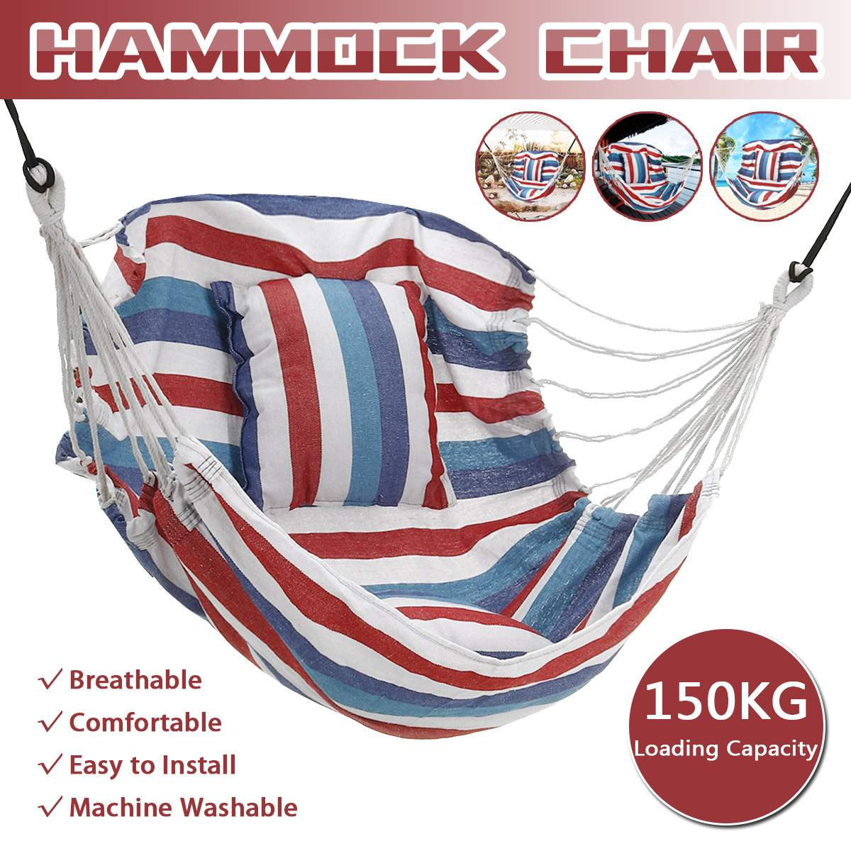 150kg Portable Garden Hang Chair Swinging Indoor Outdoor Furniture Hammock Leisure Hanging Rope Chair Swing Chair Camping Seat