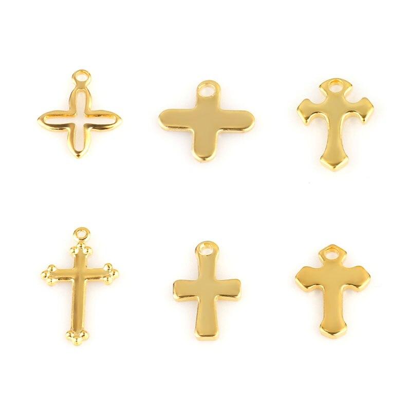 20 штук из нержавеющей стали крест кулон браслет серьги ожерелье, цинковый сплав Украшения очаровательный крестик-Кулон