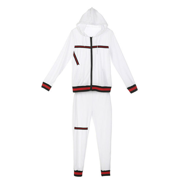 2020 Autumn Women's Sportswear 2pcs Women's Hooded Long Sleeve Zip Crop Tops Long Pants Trousers Loose Casual Clothes Set 2