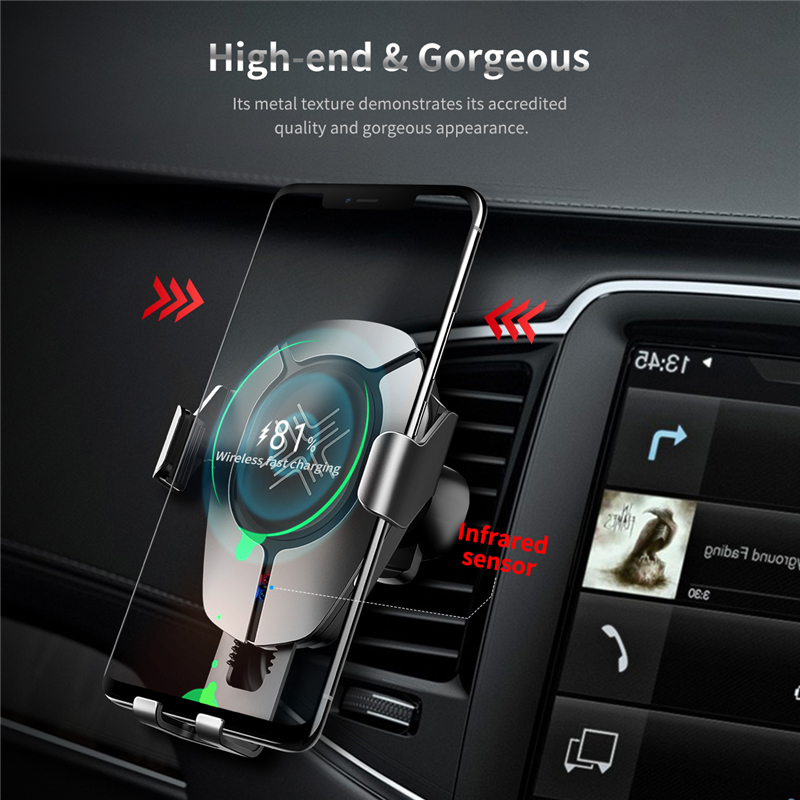 Image 2 - ROCK Car Wireless Charger Infrared Sensor Fast Charging For iPhone XR XS MAX for Huawei P30 Pro for Samsung Car Phone Holder-in Phone Holders & Stands from Cellphones & Telecommunications