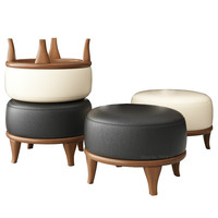 Creative Solid Wood Stool Sofa Change Shoe Stools Round Leather Chair Tea Table Ottomans with Stable Wooden Leg Home Furniture