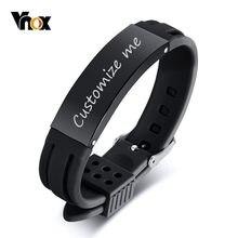 Vnox 16mm personnaliser Bracelets pour hommes bande de Silicone avec barre d'identification en acier inoxydable décontracté és cadeau de saint valentin pour lui