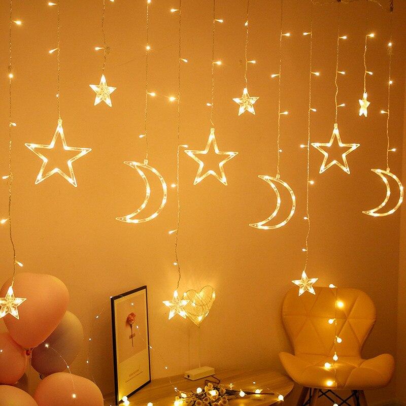 EU/US Plug LED Moon Star Lamp Christmas Garland String Lights Fairy Curtain Light For Wedding Holiday Garden Decoration