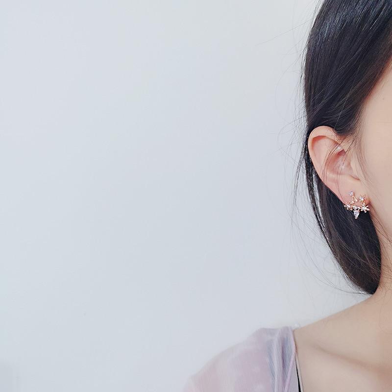 Classic Star Rhinestone Women Stud Earrings Sweet Color Zircon Star Moon Earring Designer Earrings For Women Luxury