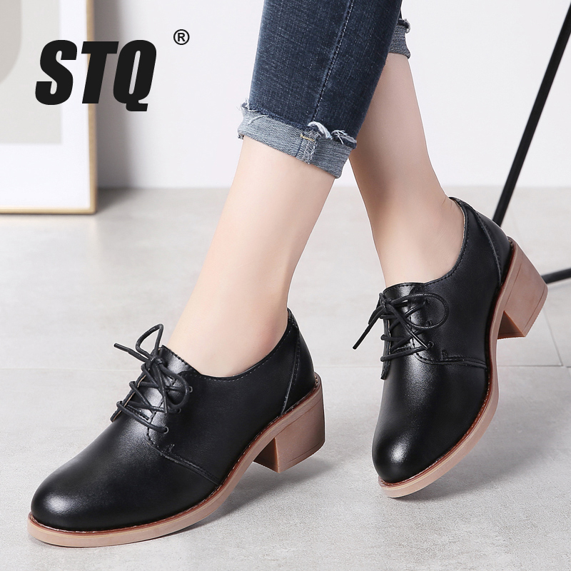 STQ Shoes Ladies Sneakers Light Flats-Loafers Lace-Up Autumn Breathable Casual Genuine-Leather