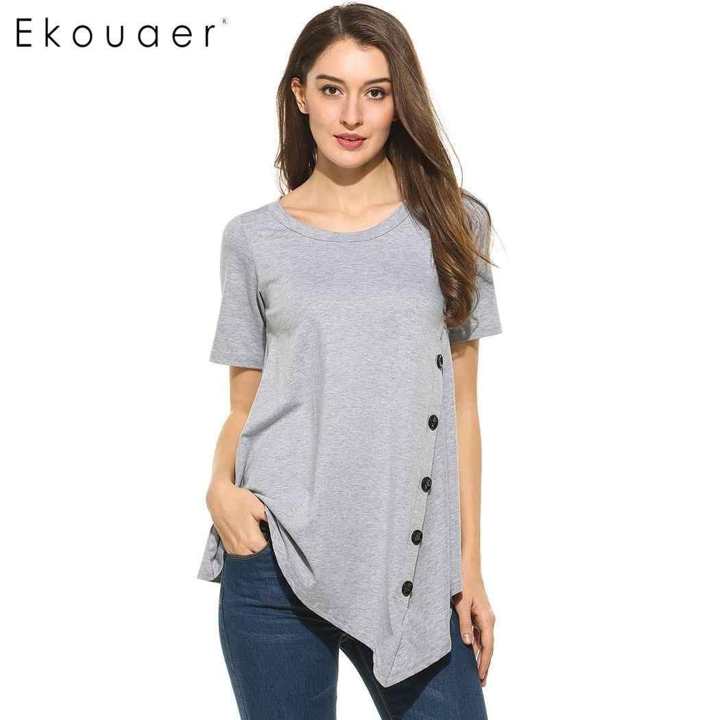 Ekouaer Baru Wanita Musim Panas Ukuran Plus T Kemeja Kasual Lengan Pendek Leher O Solid Asimetris Hem Pleated Pullover T-shirt Top