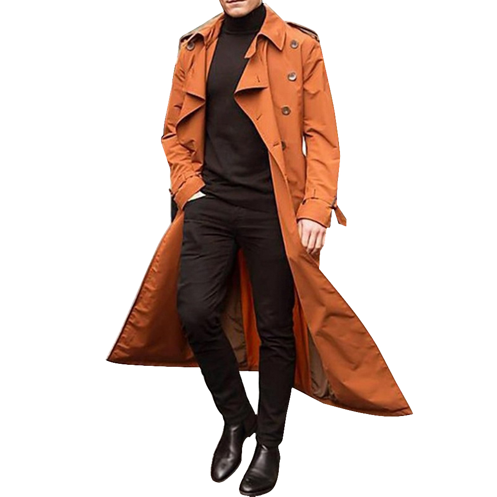 H1732fe1dbb9f46ad8c43491e1ac57dabu HEFLASHOR 2019 Long Trench Coat Men Solid Classic Winter Jacket Men Casual Loose British Style Trench Overcoat Streetwear Coat