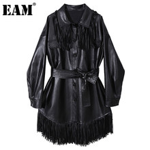 [EAM] femmes cuir synthétique polyuréthane noir gland grande taille ceinture robe nouveau revers à manches longues en vrac mode marée printemps automne 2021 1DD1665