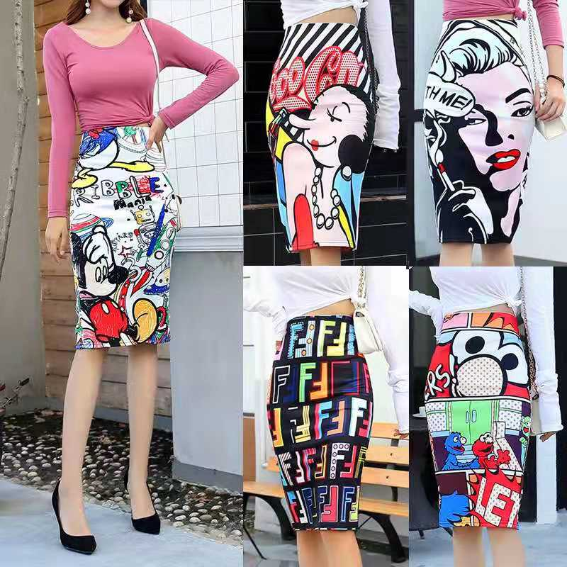 New Cartoon Mouse Print Pencil Skirt Office Lady Skirts Saias High Waist Skirt Elastic Jupe Femme Large Size Hip Jupes Falad