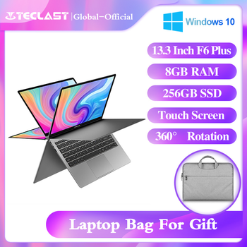 "Teclast Newest laptop F6 Plus 13.3"" Notebook 1920×1080 IPS Gemini Lake N4100 Windows10 8GB LPDDR4 256GB SSD 360° Rotation touch"