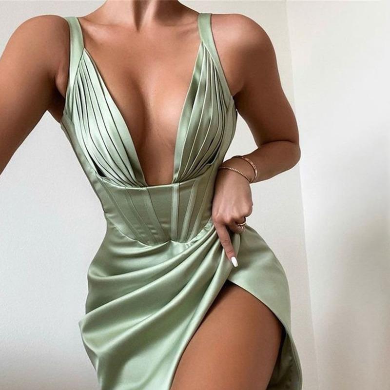 Townlike Stretch Satin Elegant Dress Women High Split Deep V Neck Sexy Party Dress 2021 Summer Dresses With Fishbone Vestidos