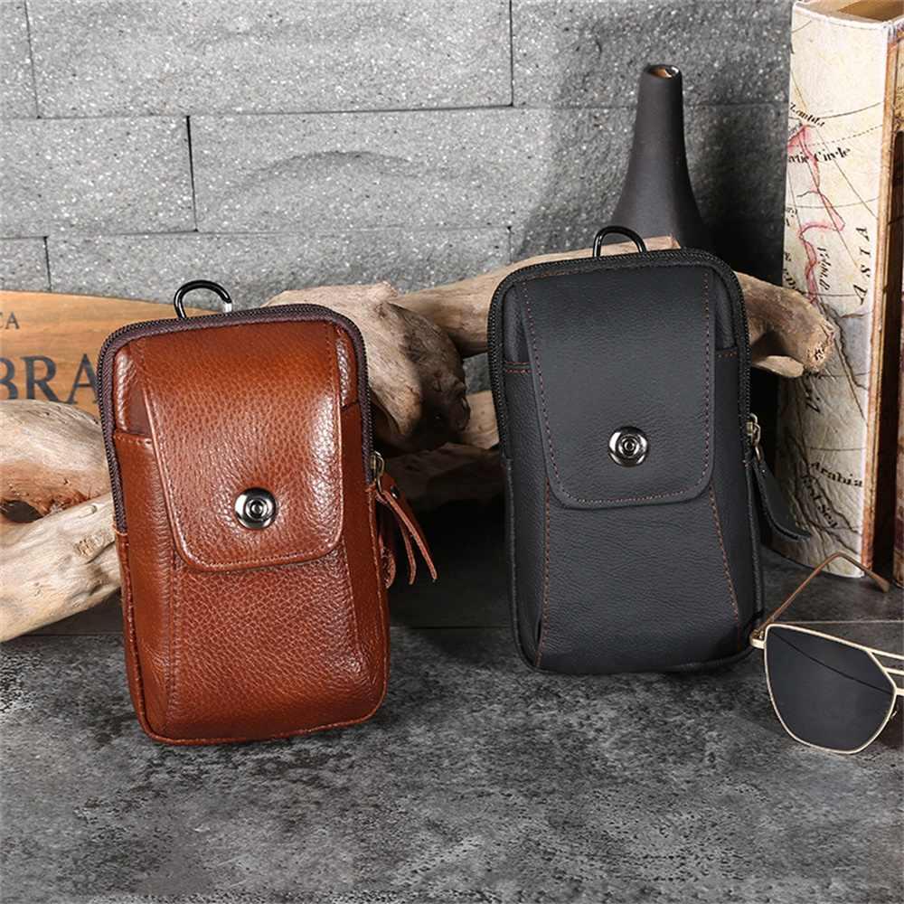 Поясная Сумка из натуральной кожи для мужчин, деловая дорожная сумка, Мужские поясные сумки, водонепроницаемый кошелек из воловьей кожи для сотового телефона, сумка-бамп