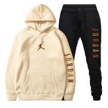 Felpa con cappuccio da uomo nuova vendita calda Jor dan Sportswear Pullover Set felpa con cappuccio in lana + pantaloni