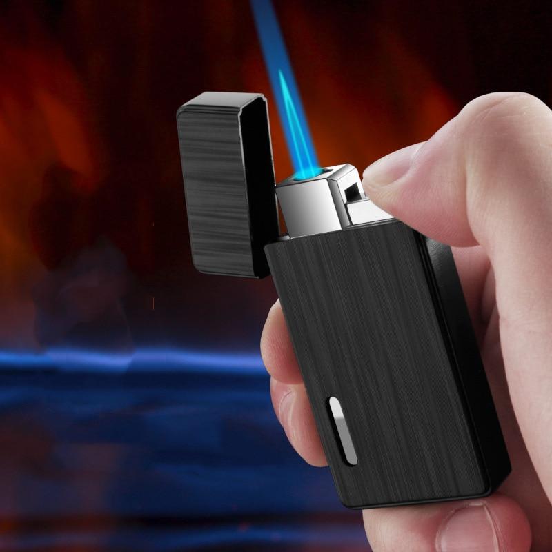 Torch  Cigarette Lighter Turbo Lighter 1 Jet Butane Gas Cigar Windproof Metal Pocket Lighters For Smoke Blue Torch Flame  JX28