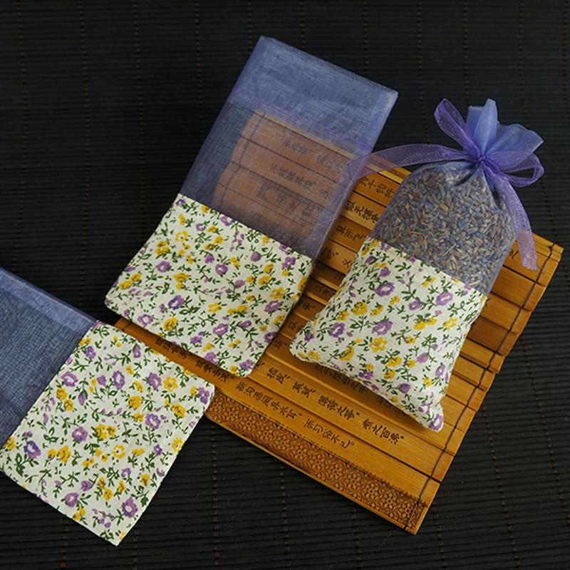 10pcs Empty Lavender Bags Flower Printing Sachets Bag Fragrance Pouch For Relaxing Sleeping Light Purple With Floral
