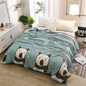 Image 1 - Papa&Mima Thin Throws Blanket Fleece Plaids Multisize Bedsheet Multifunctional Bedspread
