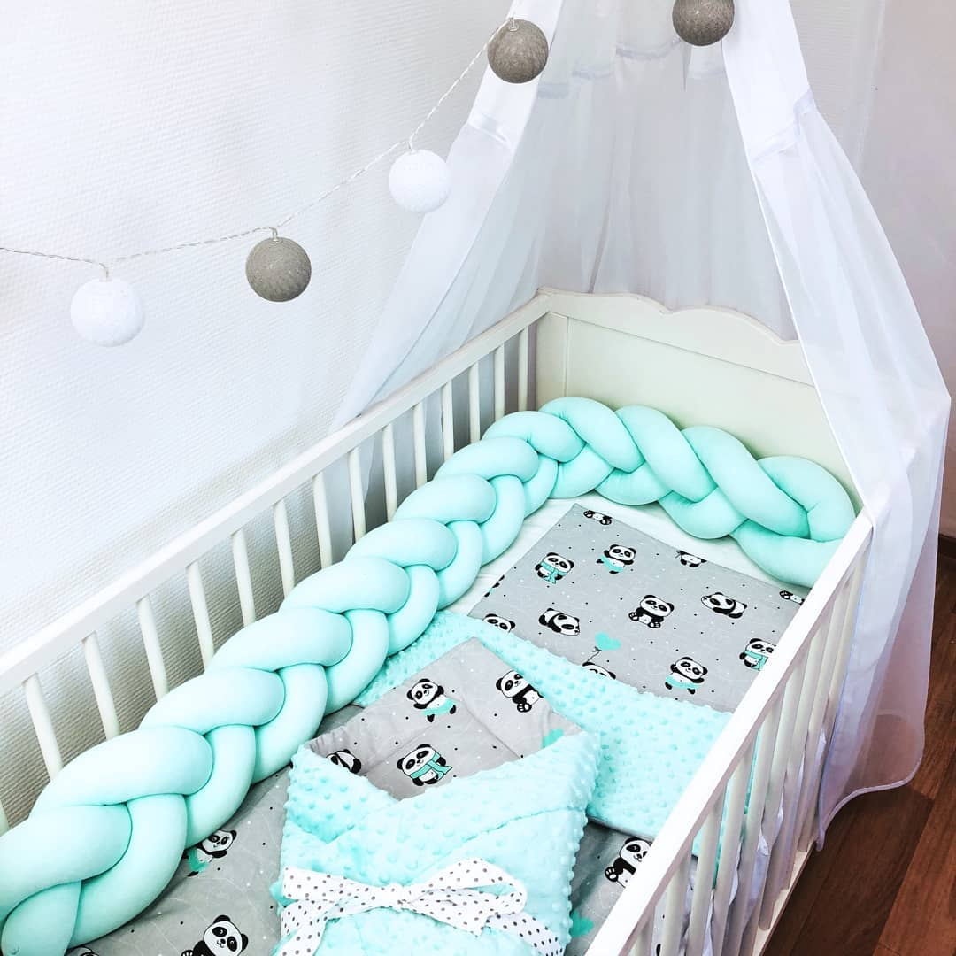 2M Baby Bed Bumper Baby Braided Crib Bumpers For Boys Girls Baby Cot Bumper Knot Braid Crib Protector Room Decor