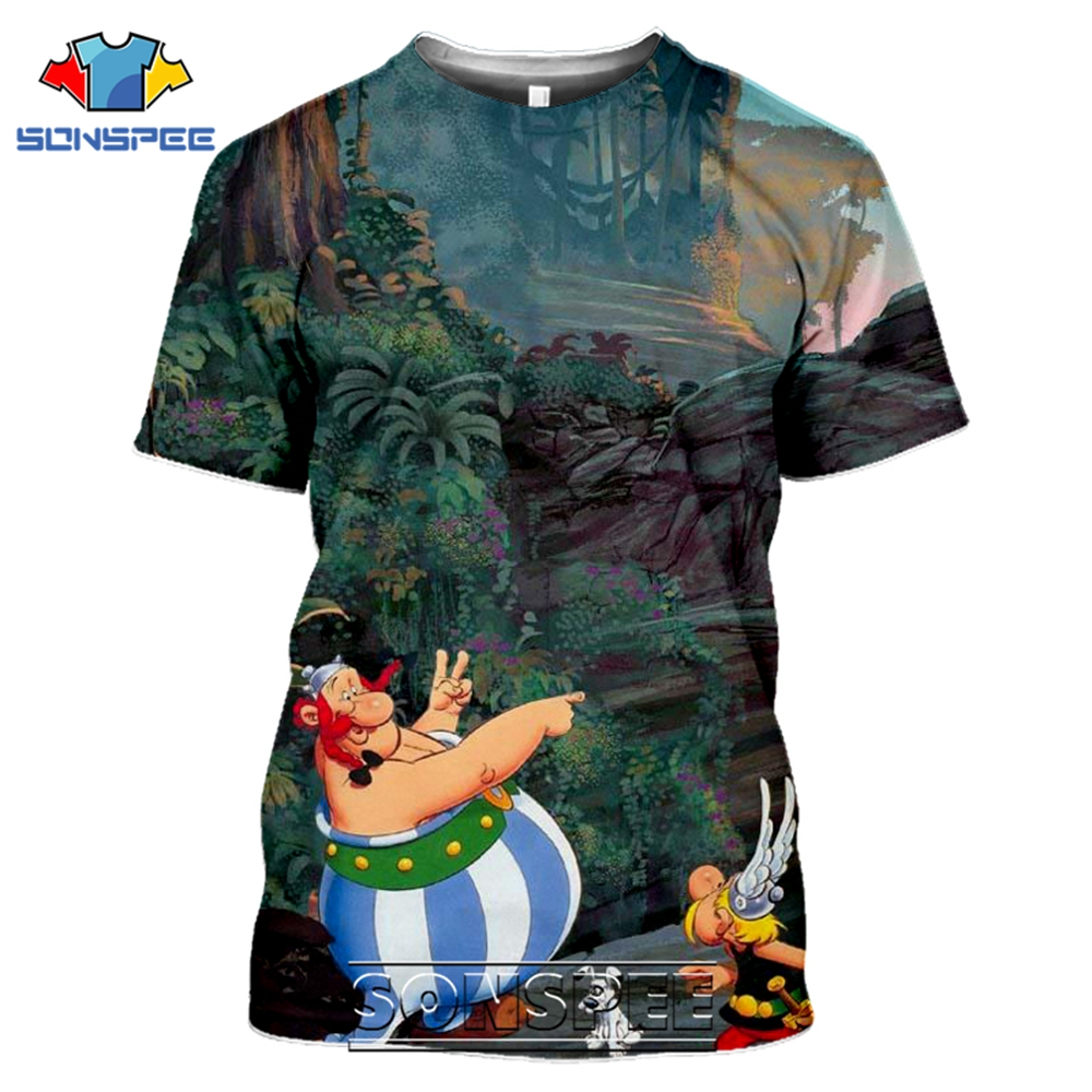 SONSPEE 3D Print Asterix And Obelix T-shirts Men Women Casual Hip Hop Short Sleeve Streetwear Vintage Cartoon Tees Tops Shirt