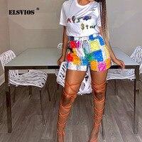 Ropa de calle de verano para mujer, pantalones cortos caseros holgados informales con estampado con combinación de varias telas, cordón en la cintura, pierna recta